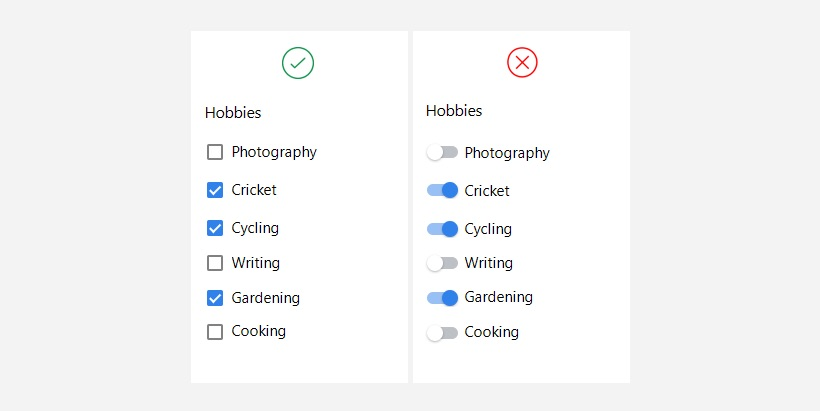 Selecting multiple options in a list provides better experience using checkboxes.