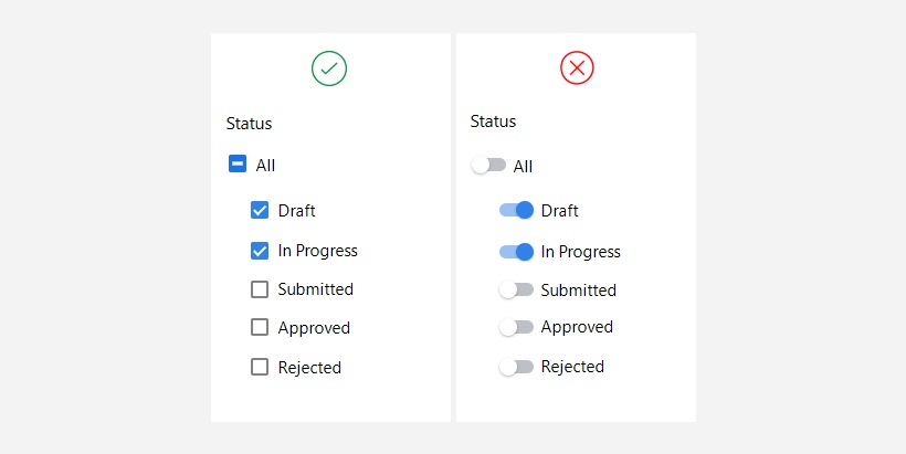 Indeterminate state is best shown using a checkbox.