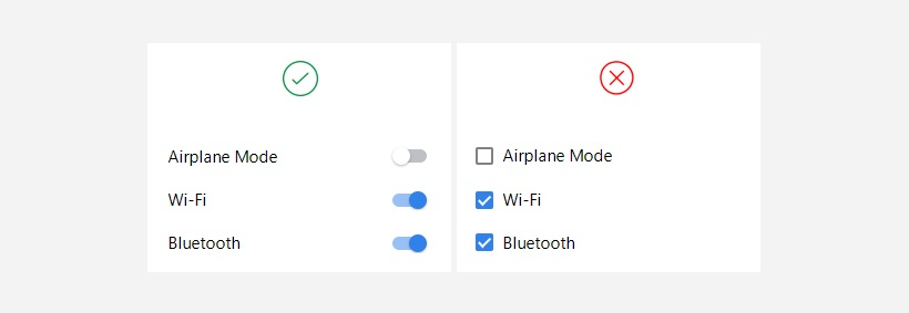 Independent items use toggle switches for selection.