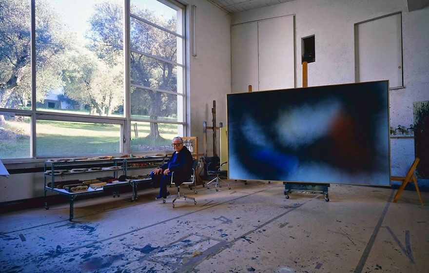 Hans Hartung in his studio in Antibes, France. Chances of getting something like this in London are slim.