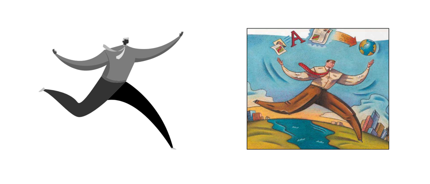 Early illustration style experiment (L) Adobe Acrobat 5.0 Package Illustration (R)