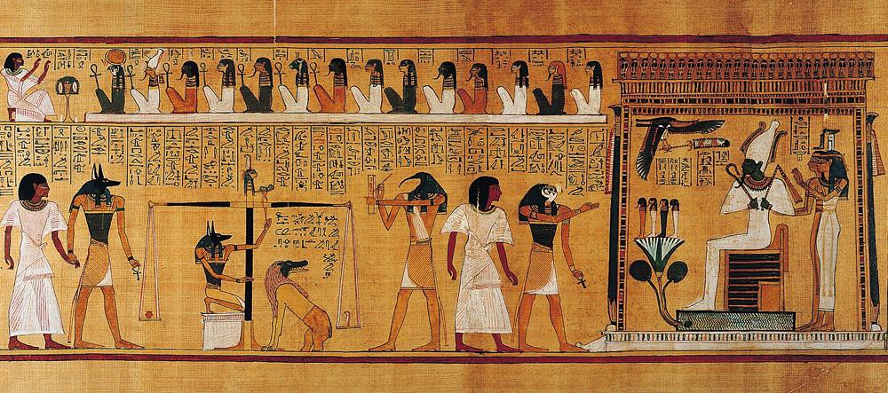 The Weighing of the Heart: In Spell 125, Anubis weighs the heart of Hunefer. This spell is first known from the reign of Hatshepsut and Tuthmose III, c. 1475 BC.