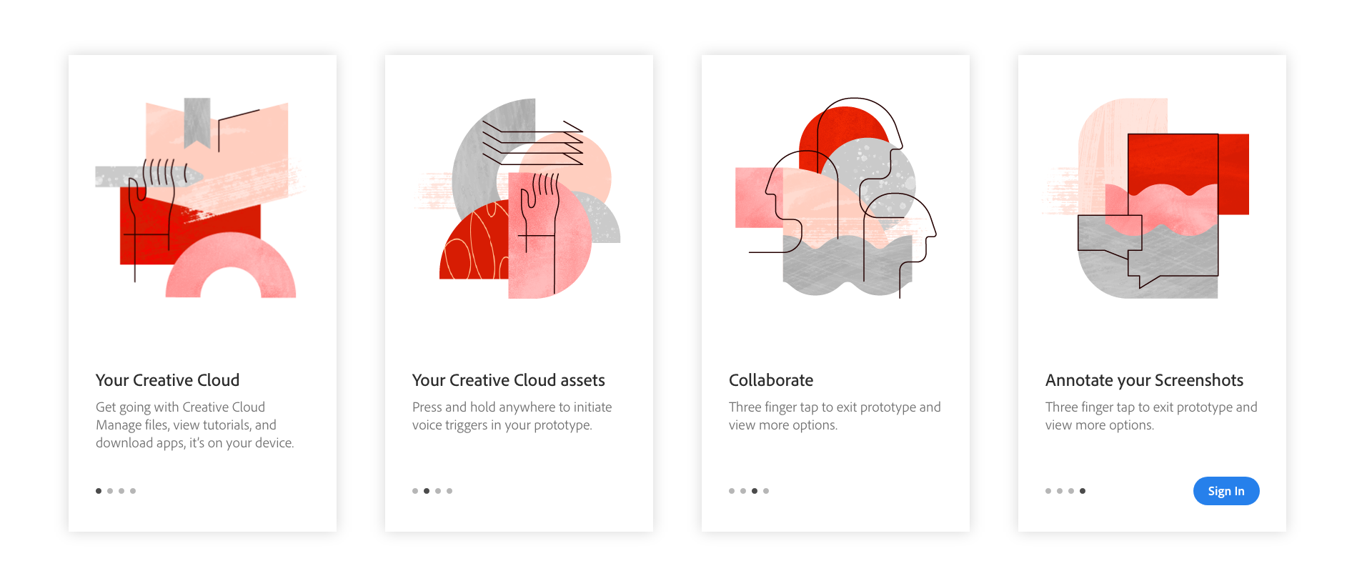 Creative Cloud Mobile on-boarding cards