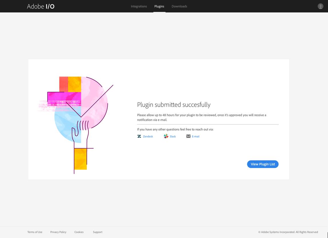 Adobe I/O Console XD Plugins Webpage