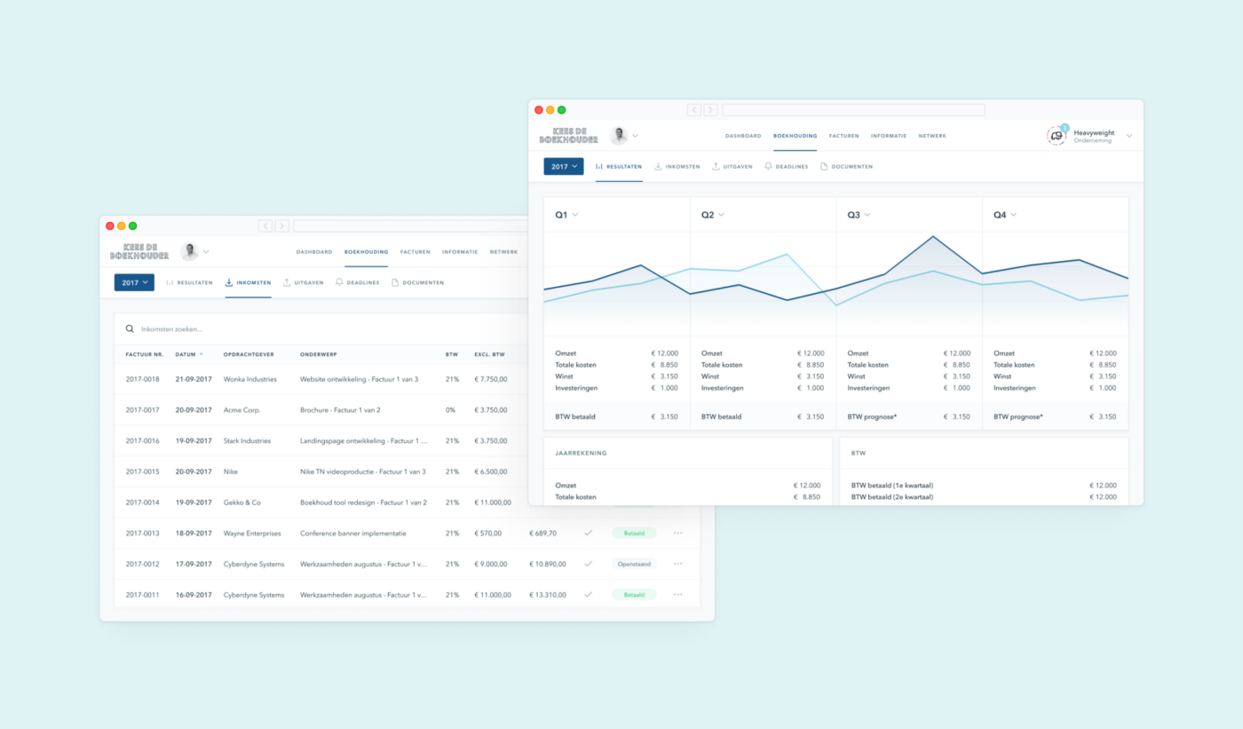 Revenue overview & Bookkeeping dashboard