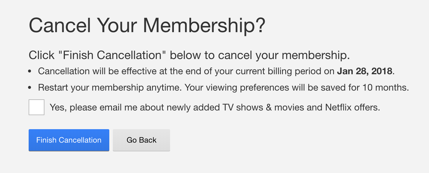 Membership cancellation on Netflix