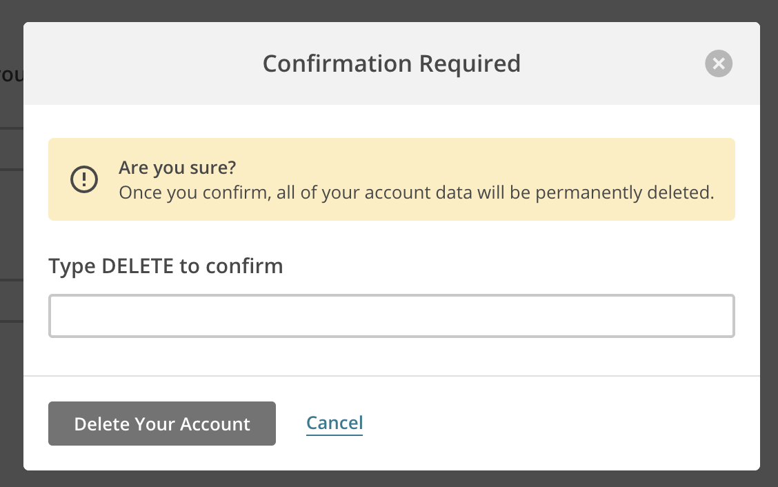 MailChimp uses confirmation before account deletion