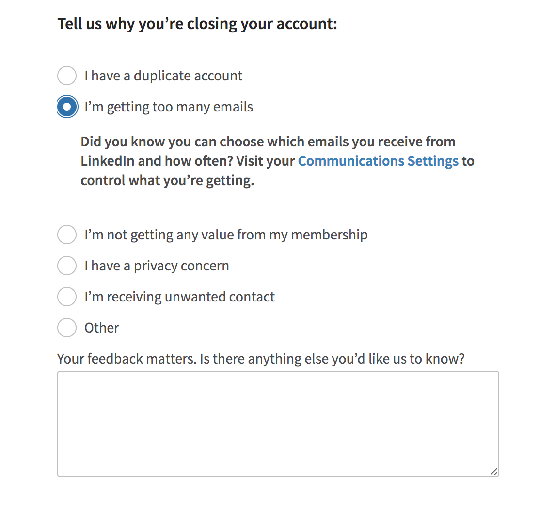 LinkedIn shows solutions in the survey