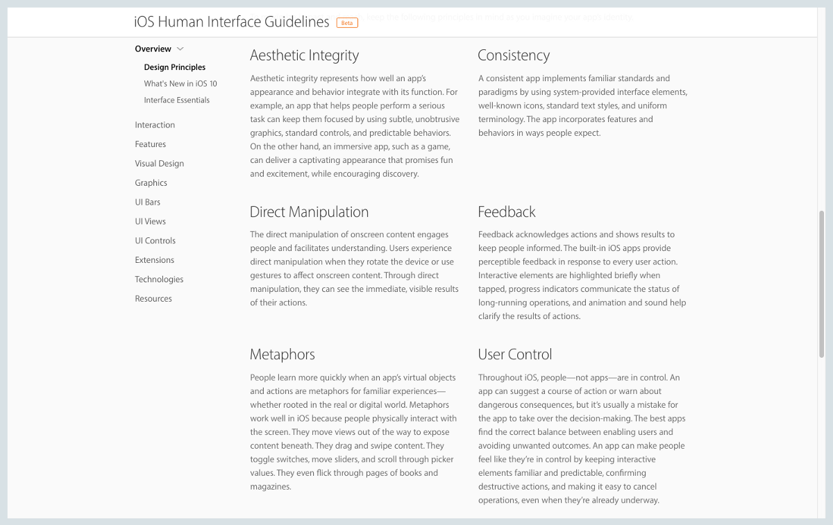 Design principles from Apple's Human Interface Guidelines.