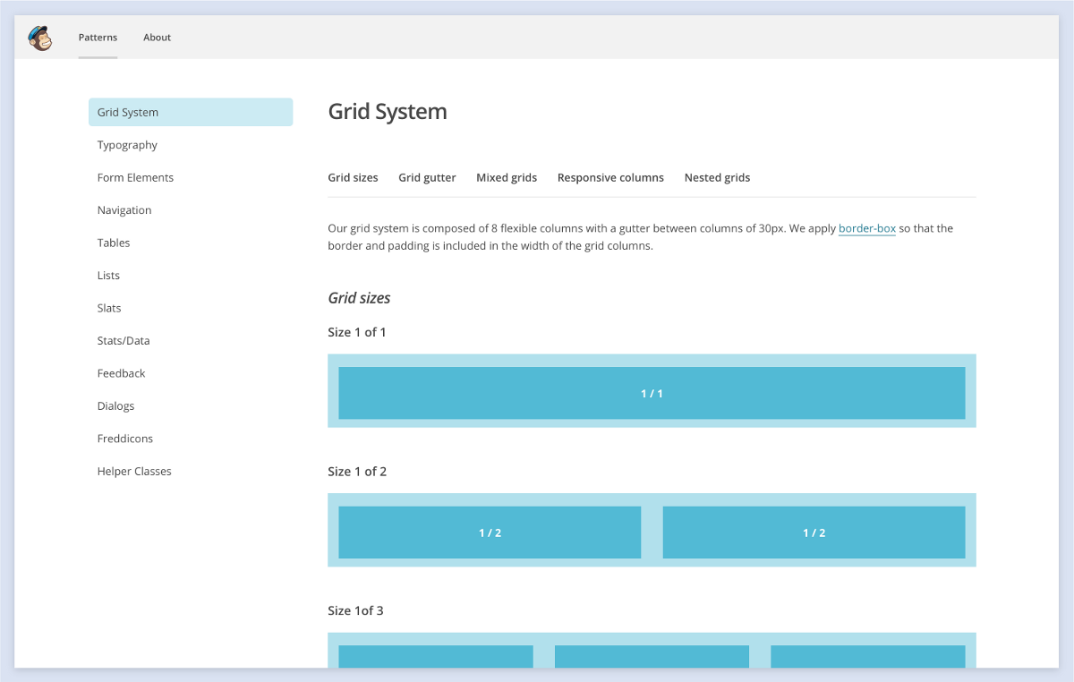 Mailchimp's grid system consists of 8 flexible columns with 30px gutters between columns.