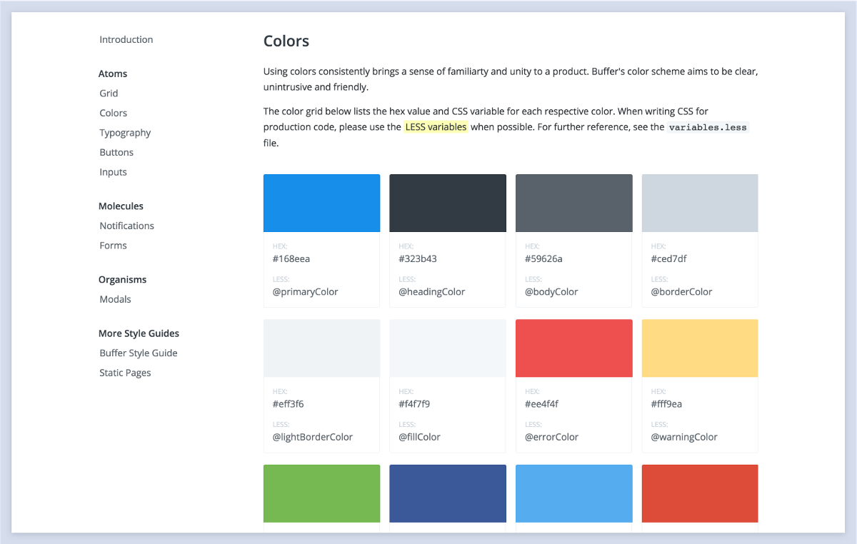 Buffer's color styleguide is useful to both designers and developers.